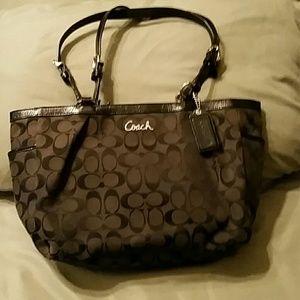 Coach Black Signature Cloth Bag